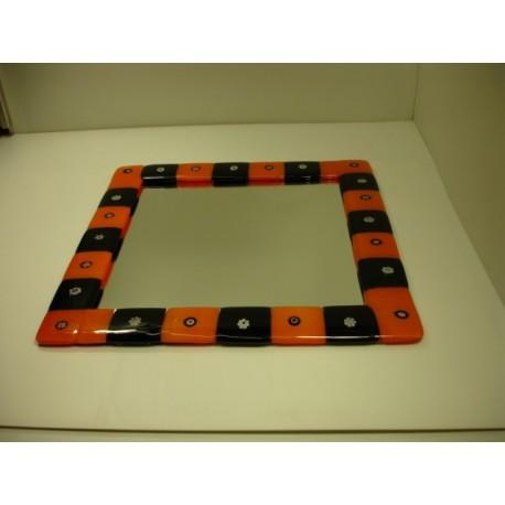 miroir encadrement verre de murano noir et rouge porcelaines mireille. Black Bedroom Furniture Sets. Home Design Ideas