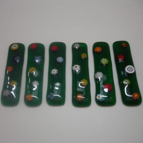 Porcelaines Mireille - Porte couteaux vert en verre de Murano