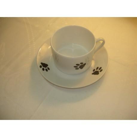 PAIRE TASSE A DEJEUNER(tasse et soucoupe)PATTE DE CHAT