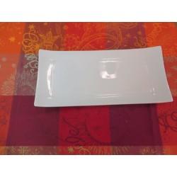 Assiette rectangulaire en porcelaine blanche 32x15