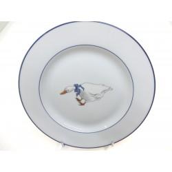 Assiette Filet Bleu Décor Oie