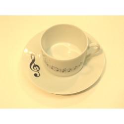 PAIRE TASSE A DEJEUNER(tasse et soucoupe) MUSICALE