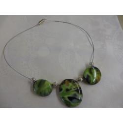 collier en verre de murano  avec 3 médaillons long 45cm